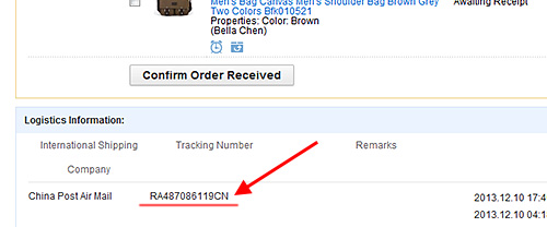 tracking number aliexpress